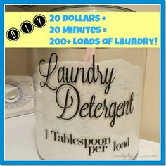 DIY Laundry Detergent Recipe.... sensitive skin friendly....so gentle you can use it on a baby!  HE Safe.  $20 plus 20 minutes equals over 200 loads of laundry!
