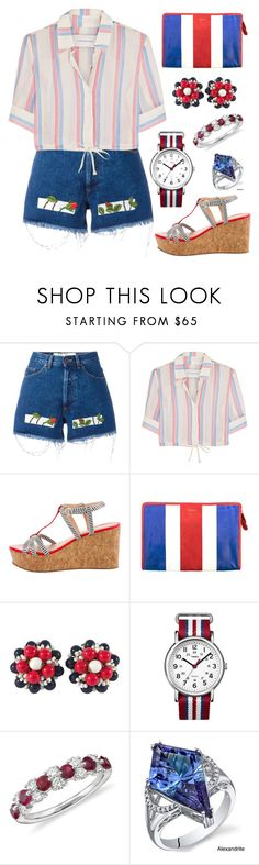 """""""Following"""" by staysaneinsideinsanity ❤ liked on Polyvore featuring Off-White, Solid & Striped, Kate Spade, Balenciaga, Miriam Haskell, Timex, Blue Nile and Oravo"""