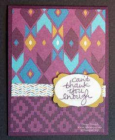 using Stampin' Up!'s Designer Series Paper and this cutting technique you can make a lot of greeting cards in a short amount of time. Each Stampin' UP! designer series paper will give you a different look.[uses Bohemian DSP]