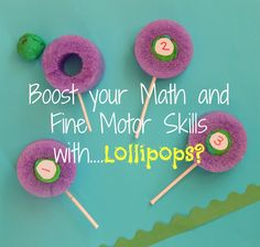 """Make your own """"lollipops"""" out of pool noodles to improve fine motor skills, math skills, while having fun with your child while playing this exciting game! Motor Activities, Sensory Activities, Hands On Activities, Educational Activities, Kindergarten Activities, Learning Games For Kids, Nice Handwriting, Lollipops, Fine Motor Skills"""