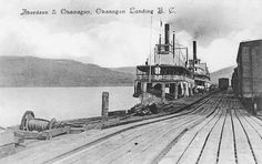 SS Aberdeen and SS Okanagan Stern Wheelers with rail cars at the Okanagan Landing Ship yard and docks (close to Vernon BC) Vernon Bc, Rail Car, Canadian History, Boat Plans, Aberdeen, Vintage Pictures, British Columbia, North West, West Coast