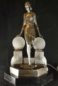 Art deco silver bronze figurine lamp light signed Fayral by canonburyantiques. Art Nouveau, Art Deco Period, Art Deco Era, Art Deco Furniture, White Furniture, Luxury Furniture, Office Furniture, Furniture Dolly, Furniture Showroom
