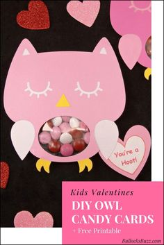 Make Valentine's Day even sweeter with these unique and adorable DIY Owl Valentine Candy Cards! They're perfect for your child's classroom party or to give to friends and family! Plus, a free printable!