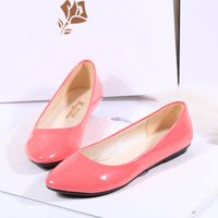 2014 spring japanned leather shallow mouth round toe flats gommini women's loafers flat shoes