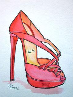 Fashion illustration:   Louboutin sketch original shoe art. $24.00, via Etsy.