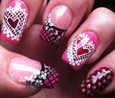 Pretty in pink. Lace Heart, Mani Pedi, Pretty In Pink, Valentines Day, Nail Designs, Nail Polish, Nail Art, Nails, Beauty