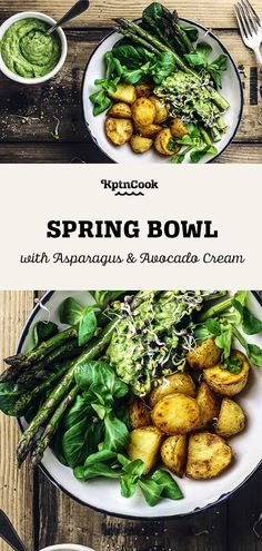 Spring Bowl with Asparagus, Potatoes & Avocado Cream Wine Recipes, Food Network Recipes, Cooking Recipes, Healthy Recipes, Healthy Tips, Potato And Asparagus Recipe, Food Is Fuel, Food Diary, Healthy Alternatives