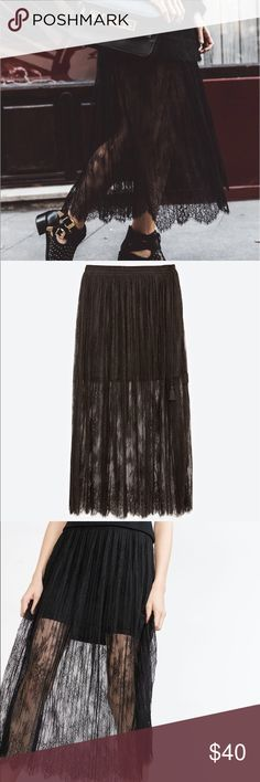 Zara Accordion Pleated Lace Skirt - Black. This skirt is new without tags, and has never been worn (excellent condition). Feel free to ask any questions!🙂👍 Zara Skirts Maxi