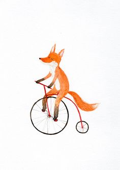 Fox on a bike A4 print by lukaluka on Etsy
