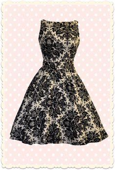 Robe rétro baroque Tea imprimé damas moka / noir - Toutes les robes/Robes évasées - Lady Vintage - missretrochic.com