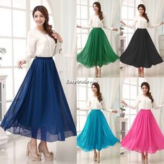 Woman Elastic Waist Chiffon Double Layer Pleated Long Maxi Skirt Vintage Dress #Unbranded #Maxi