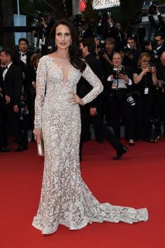 """Andie MacDowell in Ralph & Russo at """"The Sea of Trees"""" premiere during the 68th annual Cannes Film Festival."""