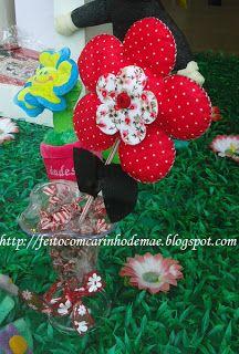 Feito com carinho de mãe: Passo a passo de flor de feltro - lembrancinha e centro de mesa para festa da Minnie