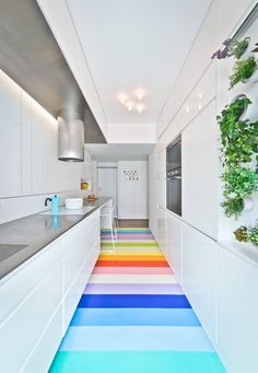 - Floors - SABO Project transforms Paris apartment with multicoloured flooring and space-sa. SABO Project transforms Paris apartment with multicoloured flooring and space-saving stairs. Colorful Apartment, Parisian Apartment, Paris Apartments, Apartment Kitchen, Floor Design, Home Design, Design Ideas, Design Inspiration, Kitchen Inspiration