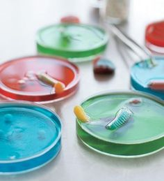 Petri dish jello for a mad scientist party