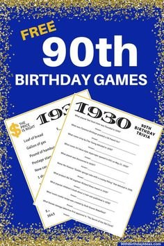 Looking for fun birthday party games? Your guests will have a ball with these fun birthday trivia games! 90th Birthday Decorations, 90th Birthday Invitations, Mom Birthday Crafts, 90th Birthday Parties, Birthday Gift Baskets, Adult Birthday Party, Birthday Party Games, Birthday Ideas, Trivia Games