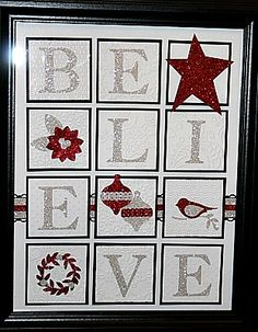 Ready to Assemble as a Perfect Gift for the Holiday Season Back by popular demand The Framed BELIEVE Kit and NEW Framed . Christmas Picture Frames, Christmas Shadow Boxes, Christmas Card Crafts, Stampin Up Christmas, Christmas Signs, Holiday Crafts, Christmas Cards, Christmas Scrapbook, Christmas Countdown