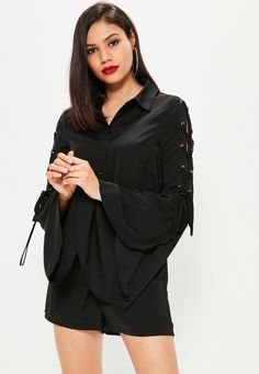 Missguided - Black Lace Up Sleeve Shirt Playsuit