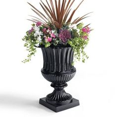 Compose a distinguished display when you flank your entryway with one of our Classic Venetian Urns. This substantial piece is simultaneously sculptural and also large enough for filling with a small tree or a tall floral arrangement. The urn and attached pedestal are built to withstand the harshest outdoor elements without sacrificing its archetypal character. Impressively-scaled urn and attached pedestal are perfect for making a grand entranceCrafted from 100% Solid Cast AluminumHand…