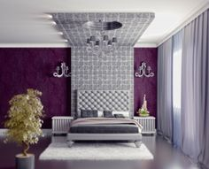 A silver headboard flows into an ornate platform that wraps around the ceiling. The chandelier adds the finishing touch.