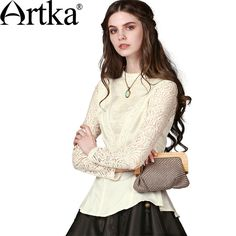 Artka Women's Early Fall Elegant Baroque Embroidery Perforated Lace Cinched Waist Long Sleeve Stand Collar Blouse SA10549Q