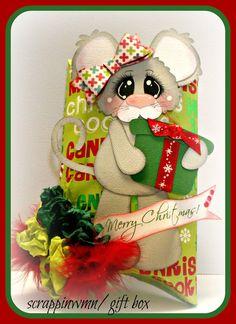 Christmas Gift Box Handmade Premade Scrapbook Paper Piecing Embellishment Die…