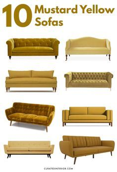 10 Mustard Yellow Sofas For A Mid Century Modern Vibe Mustard Yellow Is The New It Color To Know 10 Mustard Yel Gelbe Couch Senfgelb Senfgelbes Schlafzimmer