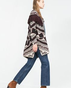 Image 4 of FRINGED JACQUARD CARDIGAN from Zara