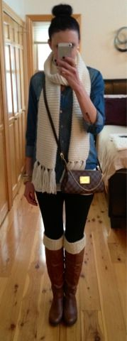 Sock bun, chambray shirt, riding boots and cross body Louis Vuitton for a casual, chilly Fall night.