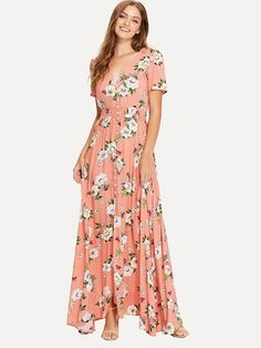 Vacation A Line Ruched and Button and Split Floral Shift Wrap V Neck Short Sleeve Regular Sleeve High Waist Pink Maxi Length Shirred Waist Floral Print Maxi Dress Pink Maxi, Floral Print Maxi Dress, Long Sleeve Flowy Dresses, Cute Summer Dresses, Pretty Dresses, Beautiful Dresses, Patchwork Dress, Orange Dress, Bridesmaid Dresses