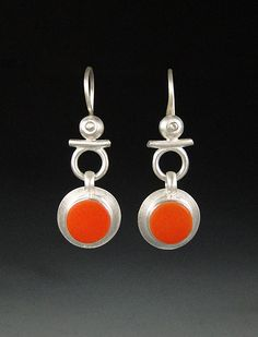 Isis Earrings in Tangerine by Amy Faust: Art Glass and Silver Earrings available at www.artfulhome.com