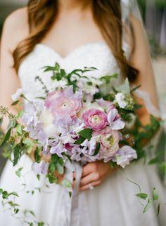 Pastel bouquet for spring: http://www.stylemepretty.com/little-black-book-blog/2015/04/07/romantic-violet-hour-bridal-inspiration/ | Photography: Studio Elle - http://studioellephotos.com/
