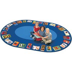"Reading by the Book School Rug - Oval - 8' 3""W x 11' 8""L"