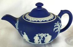 Antique Wedgwood Cobalt Blue Small Jasper Ware Teapot c1892 Superb Condition   eBay