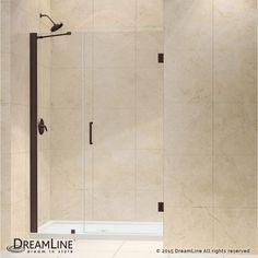 """DreamLine SHDR-20477210 Unidoor 72"""" High x 48"""" Wide Hinged Frameless Shower Door Oil Rubbed Bronze Showers Shower Doors Swing"""