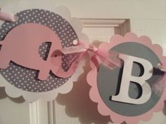 ITS A GIRL Elephant banner pink and grey by diapercake4less, $19.00