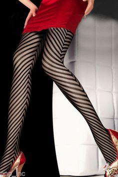 Ladys-Womens-Black-Sexy-Fishnet-Pattern-Arrow-Striped-Stockings-Pantyhose-Tights