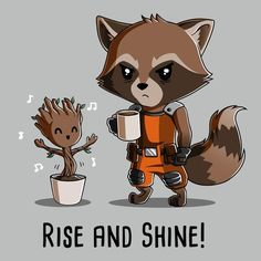 Groot and Rocket Raccoon Rise and Shine! T-Shirt | Official Guardians of the Galaxy Tee | TeeTurtle     **ladies relaxed fit, xxl