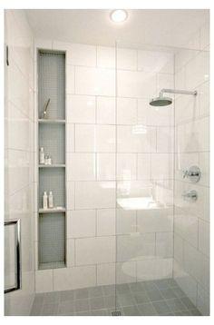 White Bathroom Tiles, Shower Tile, Bathroom Inspiration, Small Bathroom Remodel, Shower Remodel, Bathroom Remodel Shower, Bathrooms Remodel, Bathroom Design Small, Bathroom Renovations