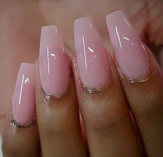 We Love Light Pink Nails Acrylic Coffin Long 17 - Nail Art Gorgeous Nails, Pretty Nails, Perfect Nails, Hair And Nails, My Nails, Light Pink Nails, Soft Pink Nails, Pink Gel Nails, Glitter Nails
