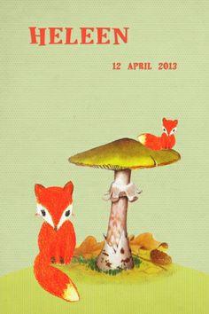 Geboortekaartje jongen of meisje - vosjes - Pimpelpluis  https://www.facebook.com/pages/Pimpelpluis/188675421305550?ref=hl (# tekening - handgetekend - vos - vosje - dieren - paddestoel - herfst - vintage - retro - origineel)
