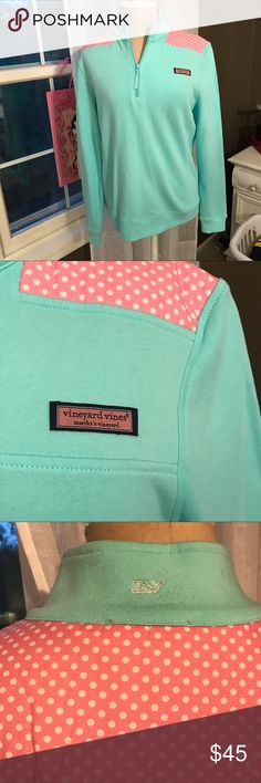 Blue & Pink Vineyard Vines Shep Sweatshirt Worn just a couple of times, bright blue with pink polka dot details. No fleece, more of a terry cloth. Fits like a 6-8. Vineyard Vines Tops Sweatshirts & Hoodies