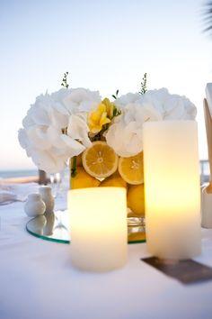 lemon and hydrangeacenterpiece in athens Wedding Decorations, Table Decorations, Athens, Pillar Candles, Hydrangea, Wedding Table, Centerpieces, Candle Holders, Lemon
