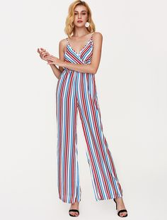 Stripped romper for a bold look. Click on the photo to check it out! Fancy Pants, Going Out, Wide Leg, Onesies, Jumpsuit, Rompers, Play, Check, Shopping