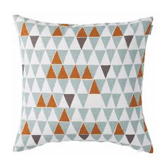 Spira's Jaffa cushion has a retro feel thanks to its triangular design and simple colour palette of turquoise, grey and orange.