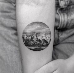 Jackson Hole Landscape Tattoo by Sanghyuk Ko