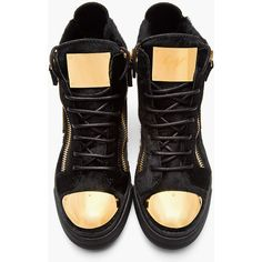 GIUSEPPE ZANOTTI Black Calf-Hair Gold-Plated London Sneakers (2.757.600 COP) ❤ liked on Polyvore featuring shoes, sneakers, black sneakers, black lace up shoes, black shoes, hi tops and black hi tops