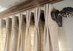 4 New Window Treatments Today I'm sharing 4 new window treatments that range in style from soft & simple panels to a vibrant, colorful valance to tailored & pleated panels. The first set of curtains frame out a pair of large french doors that overlook th Grommet Curtains, Curtains With Blinds, Panel Curtains, Valances, Curtain Panels, Large Window Curtains, Pinch Pleat Curtains, Cornices, Large Window Treatments