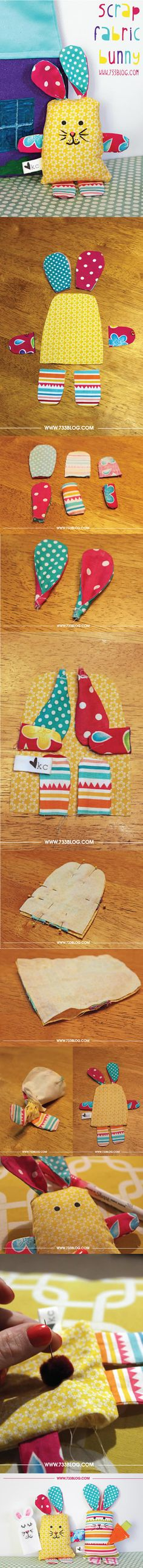 Coelho de Pascoa de Tecido com Molde passo a passo Sewing Stuffed Animals, Fabric Scraps, Doll Patterns, Patches, Bunny, Sewing Diy, Pillows, Projects, Tissue Poms