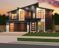 Striking angles and large windows give this four-bedroom contemporary house plan.- Striking angles and large windows give this four-bedroom contemporary house plan… Striking angles and large windows give this four-bedroom… - Small Modern House Plans, Contemporary House Plans, Modern House Design, Modern Garage, Style At Home, Architecture Design, Pavilion Architecture, Sustainable Architecture, Residential Architecture